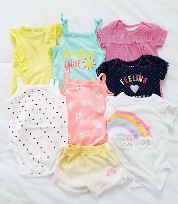 0-3 Months Baby Girl Clothes Lot Summer Tops Shorts Romper Bright Outfits