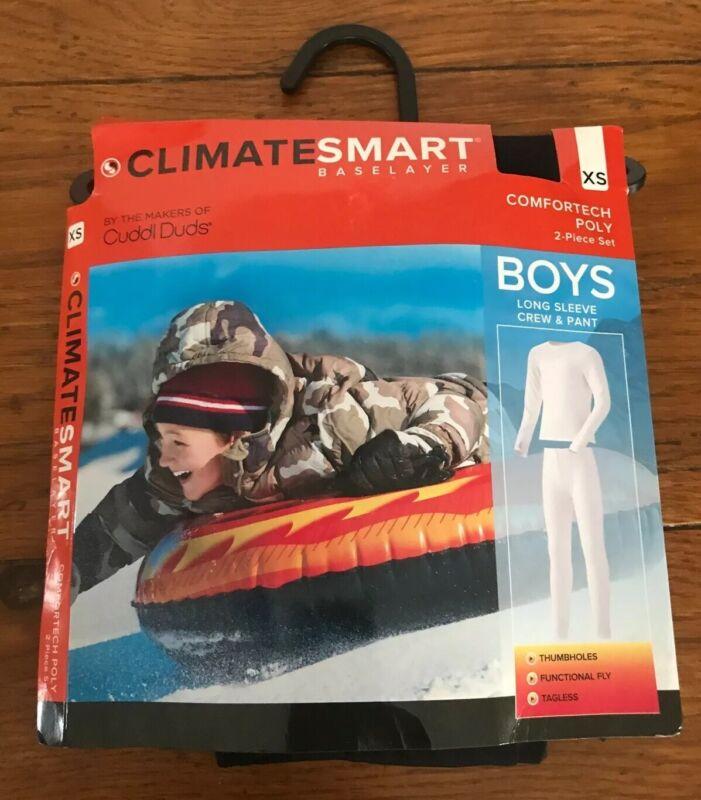 XS ClimateSmart Base Layer Boys Long Sleeve Crew & Pant 2 Piece Set Black