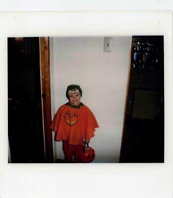JACK O LANTERN HALLOWEEN COSTUME GIRL PUMPKIN CANDY BASKET VTG POLAROID PHOTO](Halloween Candy Photos)
