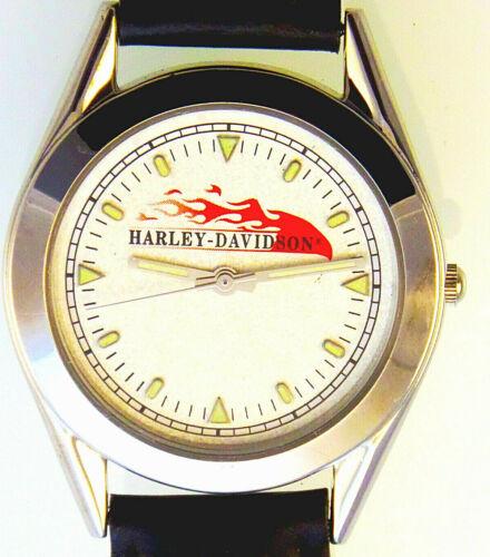 "Harley Davidson Vintage Rare Unworn ""Dimond Texture With Flames Dial"" Watch $119"