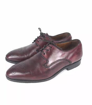 INCREDIBLE $1195 Bontoni 8.5 D Burgundy/Red Plain Toe Brogue Derby Dress Shoes