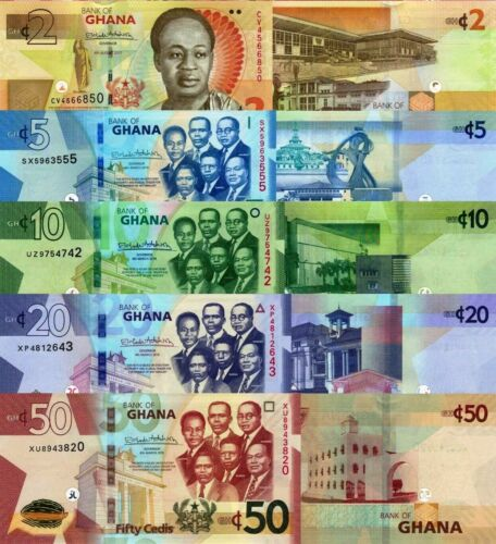 New Ghana Banknotes 5 Note Set: 2 to 50 Cedis (2019) - p38-p42-New UNC