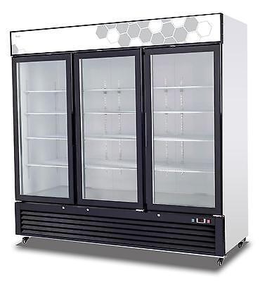 Migali C-72fm 72 Cu.ft Ss Reach-in Freezer Three Hinged Glass Doors