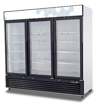 Migali C-72rm-hc 72 Cu.ft Ss Reach In Refrigerator Three Hinged Glass Doors