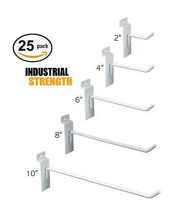 White Slatwall Hooks Combo Pk Of 25 Assorted Sizes5 Of Ea 246 8 10