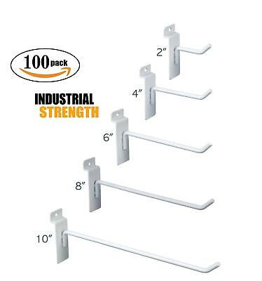 White Slatwall Hooks Combo Pk Of 100 Assorted Sizes 20 Of Ea 246 8 10