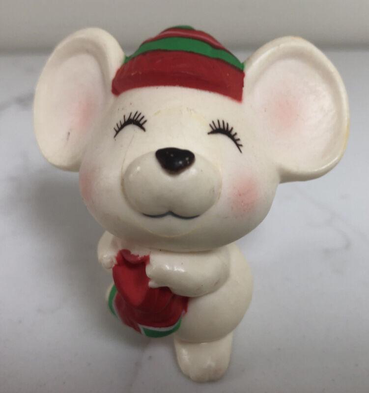 Hallmark Merry Miniatures Christmas White Mouse Stocking Figurine 1979 VTG GUC