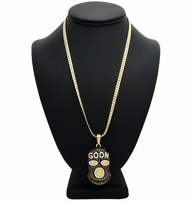 Hip Hop Goon Ski Mask Man Pendant Miami Cuban Link Chain Necklace Gold Plated](Goon Mask)