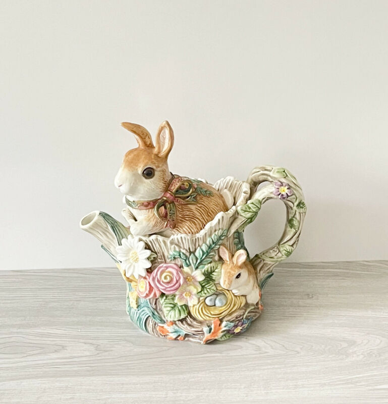 Fitz & Floyd Woodland Spring Bunny Rabbit Teapot with Butterflies & Flowers