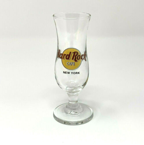 """Hard Rock Cafe NEW YORK Fluted Shot Glass Black Double Circle RED Letters 4.25"""""""