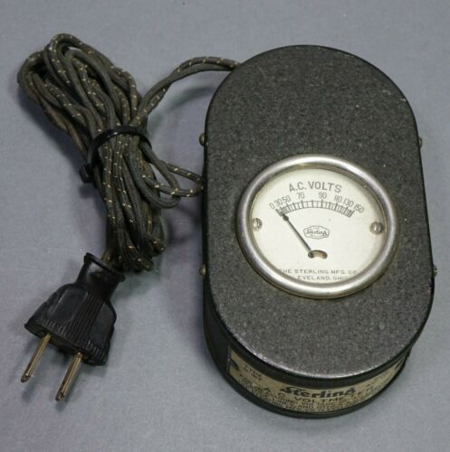 R-417 AC Volt Meter Sterling Manuf. Co. Cleveland, Ohio Tested Working!