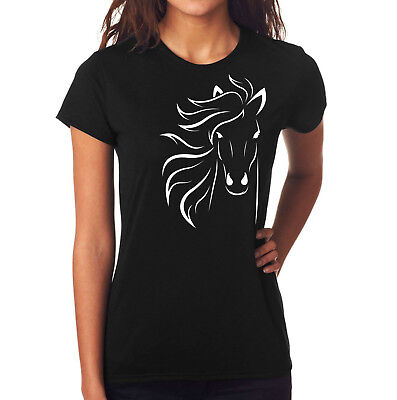 Horse design womens fitted black t shirt slim fit style animal logo printed top Design Womens Fitted T-shirt