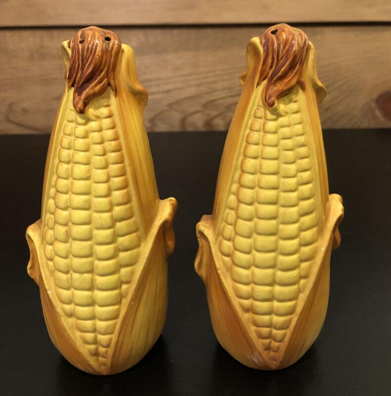 Vintage Corn on Cob Salt & Pepper Shakers Ceramic Yellow Brown - Japan Origin