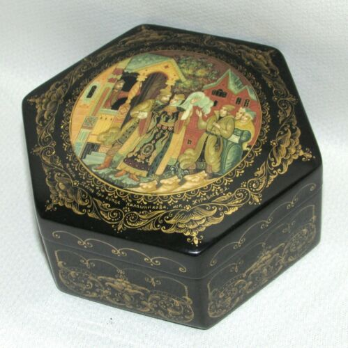Vtg Russian Lacquer Box MSTERA Song About the Merchant Kalashnikov Signed 359r