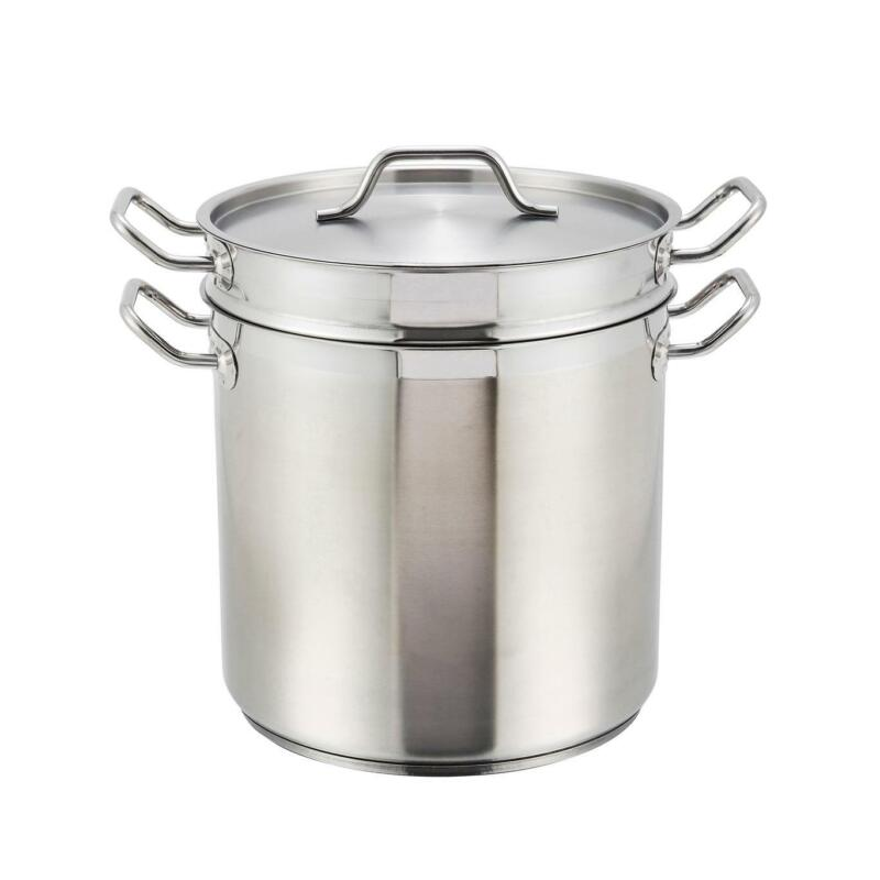 Winco SSDB-20 20 Quart Stainless Steel Induction Double Boiler w/ Lid
