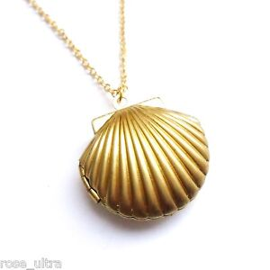Golden Sea Shell Mermaids Locket little nautical necklace 18