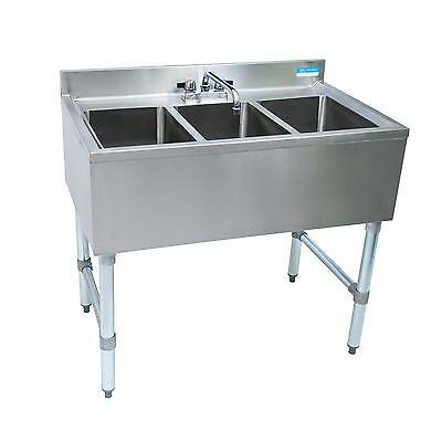 Bk Resources Bkubs-336s 36w Three Compartment Stainless Steel Underbar Sink