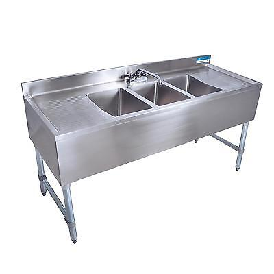 Bk Resources Bkubs-384ts 84w Three Compartment Stainless Steel Underbar Sink