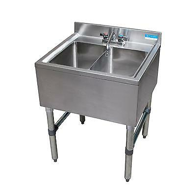 Bk Resources Bkubs-224s 24w Two Compartment Stainless Steel Underbar Sink