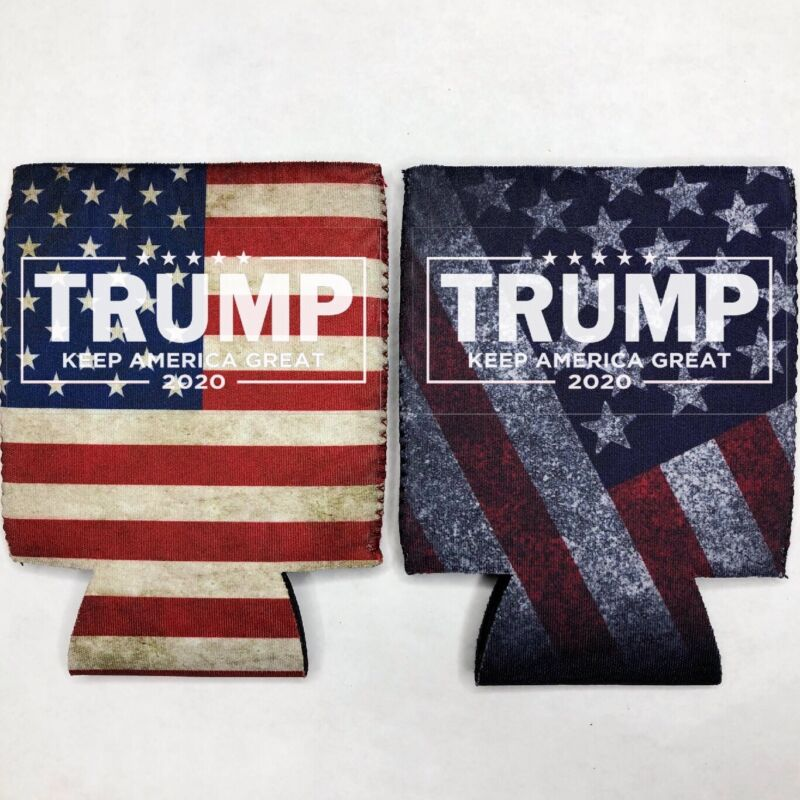 2 Donald TRUMP 2020 Fan Beer Can Cooler Coozie Koozie USA Flag Gift QTY 2
