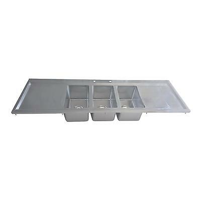 Bk Resources Three Compartment 70x20 Stainless Steel Drop-in Sink