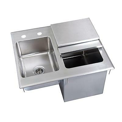 Bk Resources 21wx18dx12d Stainless Steel Drop-in Ice Bin With Sink