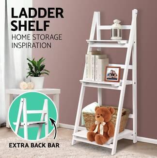 Wooden Ladder Shelf 3 Tier Stand Storage Book Shelves Brand New