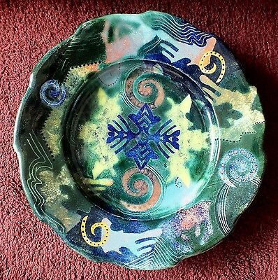 Superb and Striking Vintage Pru Green Gwili Pottery Fully Signed Plaque/Bowl