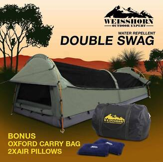 Double Swag C&ing Swags Canvas Tent Deluxe Aluminum Poles Bag & Camping Swag Canvas Dome Tent Grey/Blue KS/D Sizes | Camping ...