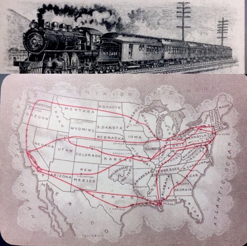 c1890 Historic Railroad Locomotive U.S. Railway Map Playing Card Train Single