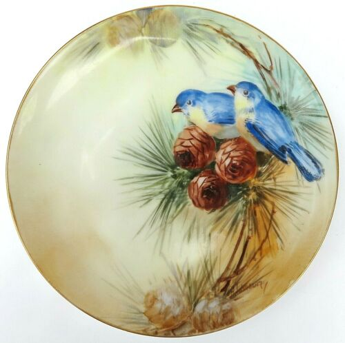 Vintage Hand Painted Bluebirds & Pinecone Plate Signed Johnson MIJ Porcelan