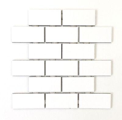 2x4 White Subway Glossy Ceramic Wall Tile Kitchen Backsplash Bathroom (1 sheet) Metro Wall Tiles