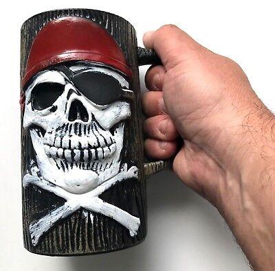 PIRATE BEER MUG Skull Cross Bones Captain Big Cup Costume Party Prop Plastic  - Beer Mug Costumes
