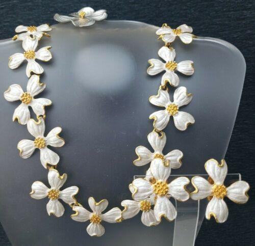 Judith Woracek Mullen Silvery Gold Tone Dogwood Necklace Earrings + Bonus Brooch