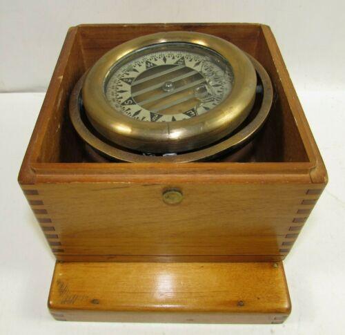 1945 WW2 Boxed Gimbal Compass Wilcox Crittenden & Co. Maritime Nautical