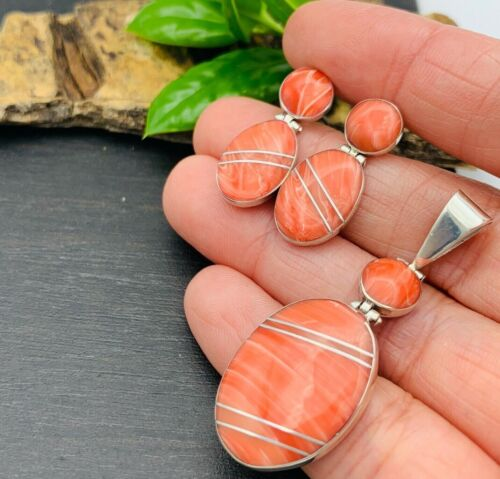 Taxco Mexico Pink Coral 950 Sterling Silver Earrings & Pendant set