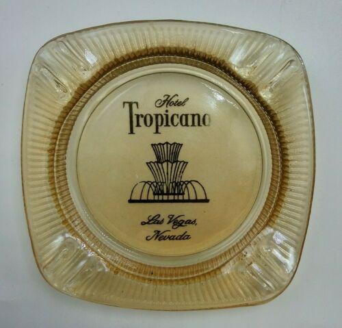 Tropicana Hotel Casino Amber Glass Ashtray Las Vegas NV Nevada Gambling Souvenir