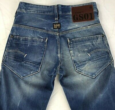 G-Star Raw Radar Low Loose Jeans Mens 28x32 Button Fly Whiskers Azurr Denim