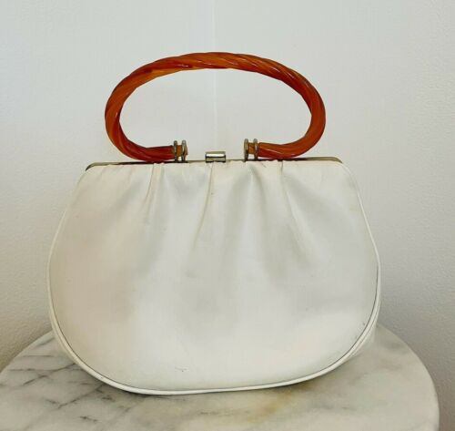 Vintage White Purse Handbag With Red Lucite Handle