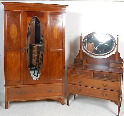Quality Antique Edwardian Bedroom Suite Wardrobe Chest of Dressing Table Drawers