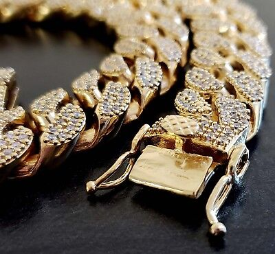 - 14K Gold Plated Heavy Thick Out Miami Cuban Chain Choker Size or Bracelet 18MM