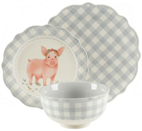 Pioneer Woman Stoneware Grey Gingham Pig 3 Piece Place Setting Plates Bowl NEW