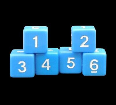 New Set of 6 Numbered D6 Six Sided Standard 16mm Dice - Opaque Blue 16mm Dice Standard