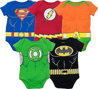 Justice League Baby Boys 5pk Bodysuits- Batman Superman Flash Green Lantern Aqua ()