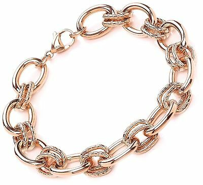 Stainless Steel Rose Gold Rolo chain 21cm Bracelet Schakel armband