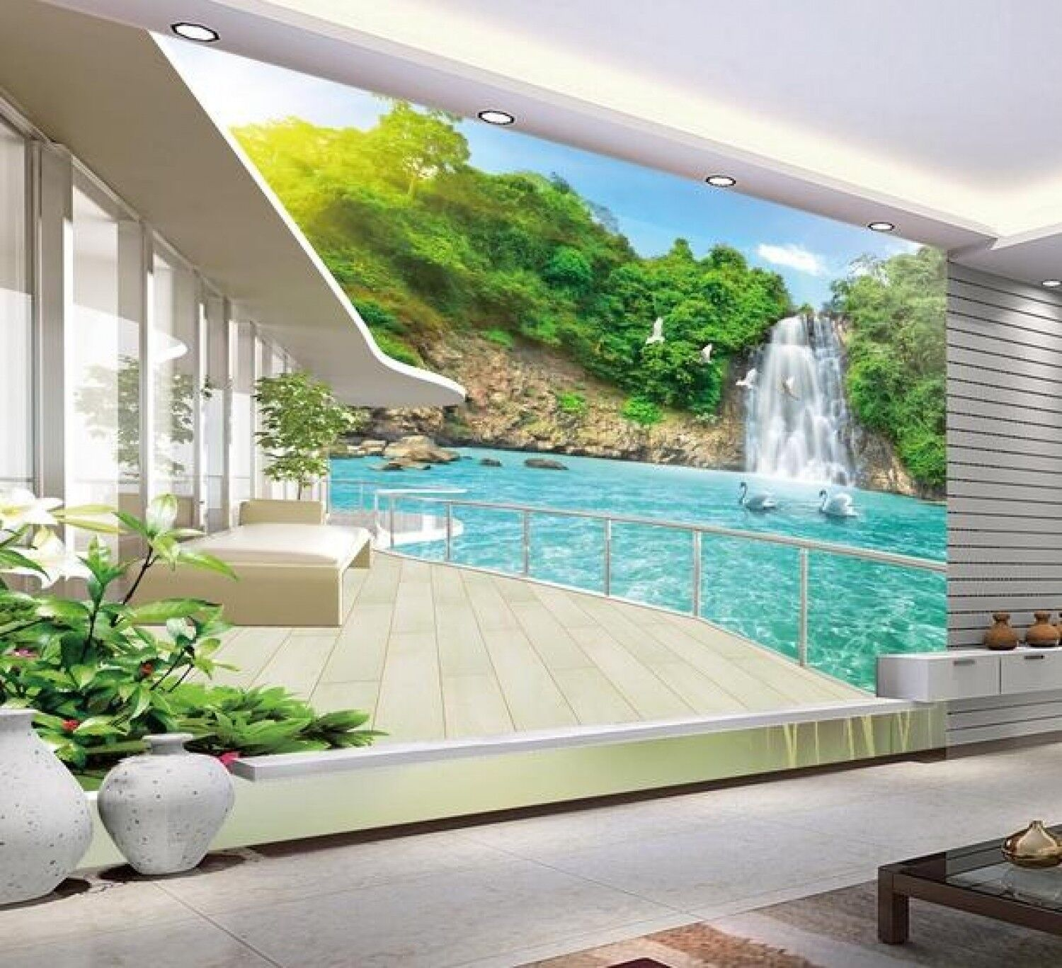 Details About 3D Wallpaper For Room Balcony Beautiful Waterfall Scenery Custom Wallpaper