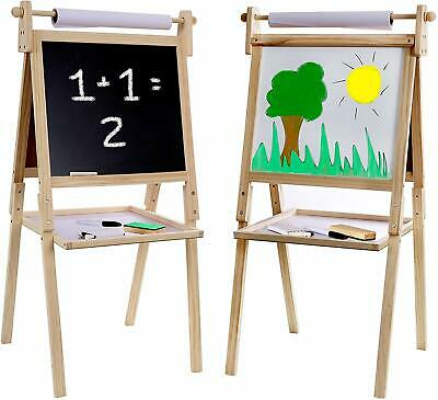 Kraftic Kid's Drawing Easel- Chalkboard, Magnetic Dry Erase Board and Paper -