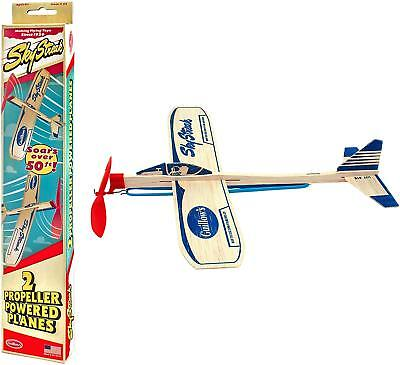 2 New Wooden Balsa Airplanes Rubber Band Retro Model Toy Plane Airplane USA