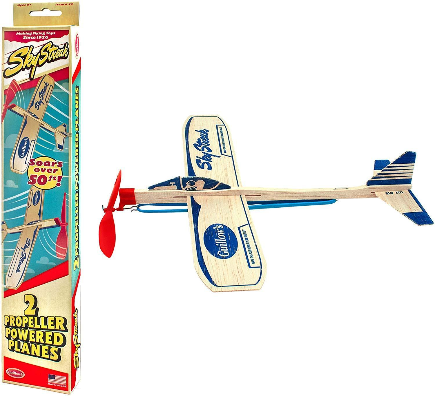 2 New Paul Guillow Wooden Balsa Airplanes Rubber Band Model Toy Plane Airplane Classic Toys