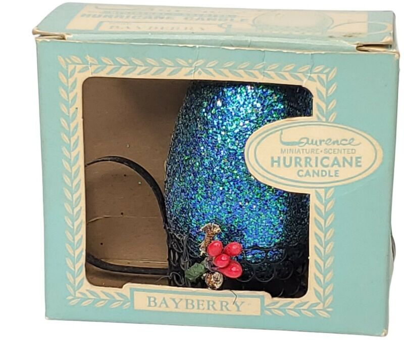 Vtg Laurence Xmas Glitter BLUE Miniature Hurricane Candle Bayberry Scent Unused